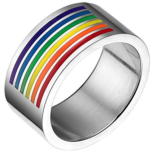 AMDXD Schmuck Unisex-Ringe Regenbogen Farbe Gay Pride Edelstahl Herren Damen Ringe Gr.57 (18.1)