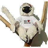 Sifaca (lémur) de peluche con Amo Barcelona en la camiseta (ciudad / asentamiento)