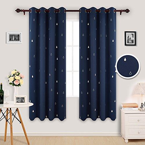 Deconovo tende oscuranti termoisolanti con stampa goccia d'acqua per camera da letto con occhielli 117x183cm blu navy 2 pannelli