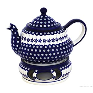 Boleslawiec Pottery Teepot 2.0 L with Warmer, Original Bunzlauer Keramik, Decor 166a