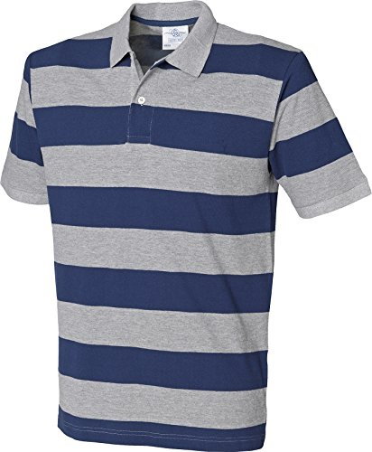 Front Row Herren Gestreift Pique Polo Shirt kurz Cuffed Sleeve Tee 2 Button oben Mehrfarbig - Heather Grey / Navy