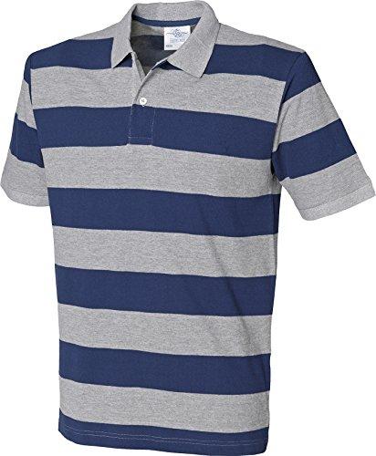 Front Row Herren Gestreift Pique Polo Shirt kurz Cuffed Sleeve Tee 2Button oben Mehrfarbig - Heather Grey / Navy