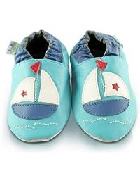 Snuggle Feet - Chaussons Bébé en Cuir Doux - Bateau