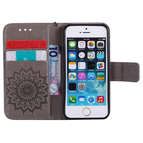 iPhone 6s Hülle,iPhone 6 Hülle Flip Case,Ekakashop Retro Lila Sonnenblume Muster Bookstyle PU Lederhülle Tasche Schutzhülle Schale Weichen Silikon Klapptasche Etui Magnetverschluß mit Standfunktion Ka Grau