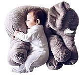 J&L Nettes Elephant Umweltschutz Kissen Tier Elefant Kissen aus Neuheit Plüsch Weiches Spielzeug für Dekoration, Geschenke für Kinder Plüschtiere Baby beschwichtigen PP Cotton (Grey)