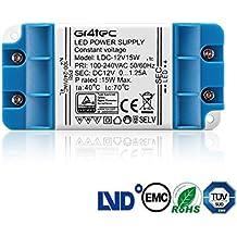 Gr4tec Transformador Led 12V 15W 1.25A Fuente de Alimentación para Bombillas GU5.3 MR16 G4 MR11 Tira led