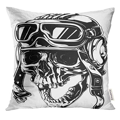 Cupsbags Throw Pillow Cover Black Pilot Tattoo of Crazy Smiling Old Human Skull in Retro Aviator Helmet with Open Jaw White Skeleton Decorative Pillow Case Home Decor Square 18x18 Inches Pillowcase
