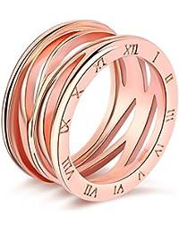Impression 1PCS Ringe Ring Nummerierung Romana Ring Diamanten Mode-Ring Schmuck-Girl Zubehör Valentinstag Geschenke aus Glas Hochzeit Ring offen Gold Rosa