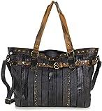 Taschenloft Shopper Damen groß - Shopper Bag schwarz - Schwarze Handtasche lässig mit langem Schulterriemen - große Tasche mit Nieten im Vintage Style