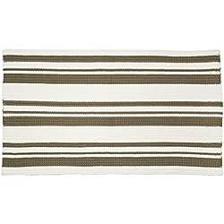 mDesign Alfombra moderna – Ideal como alfombras dormitorio, cocina, balcón y baño con diseño de rayas – Pequeña alfombra en color caqui/marfil