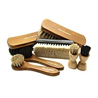 Pacona 7-Piece Shoe Brush Setto Shine and Polish 100 % Black and Bright Finish Light Goat Hair... Application brushes for shoe polish–black and light horsehair.