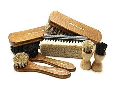 Pacona 7-Piece Shoe Brush Setto Shine and Polish 100 % Black and Bright Finish Light Goat Hair... Application brushes for shoe polish–black and light