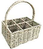 6 section Seagrass Cutlery Divided Basket - static handle