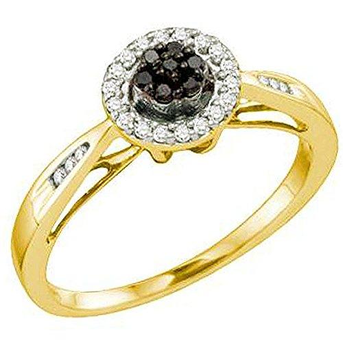 0,20Karat (ctw) 10K Gelb Gold Rund Weiß & Schwarz Diamant Damen Cluster Flower rechte Hand Ring 1/5CT (10k Weißes Gold Schwarzer Diamant Ring)