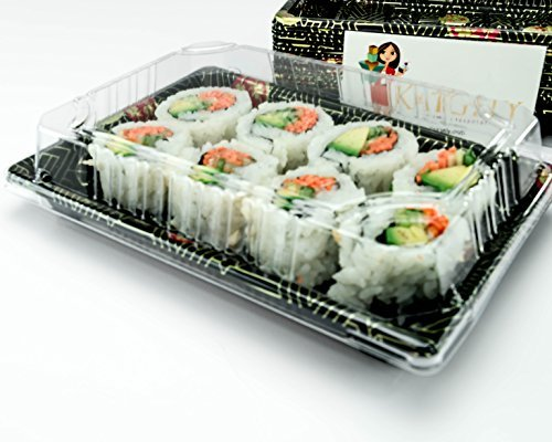 katgely Sushi Tabletts mit Deckel # 10 Sushi Trays with Lids Pack of 50 Clear and black Black Sushi Tray