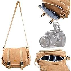 DURAGADGET Sacoche en Toile résistante pour appareils Photos Canon EOS 1Ds Mark III et Mark IV, 5D MK II/Mark III - Couleur Beige Vintage et Compartiments modulables