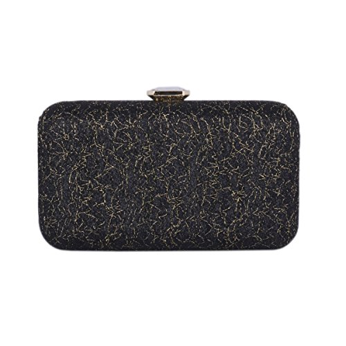 Damara® Fashion Damen Glitzer Party Clutch Abendtasche Mit Pailletten Schwarz