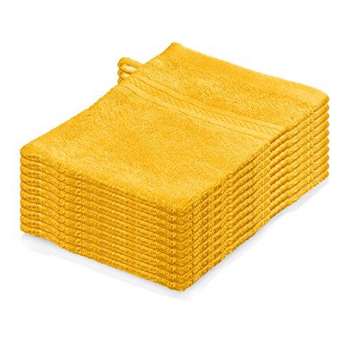 Lumaland Premium 10er Set Waschlappen Waschhandschuhe Frottee 16 x 21cm 100% Baumwolle 500 g/m² gelb