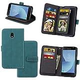 KANTAS 9 Karten Brieftasche Flip Case für Samsung Galaxy J3 2017 Blau PU Leder Handyhülle Case Matt Oberfläche Taschenhülle Wallet Ledertasche mit Magnetverschluss Standfunktion Geldbeutel Schutzhülle für Samsung Galaxy J330