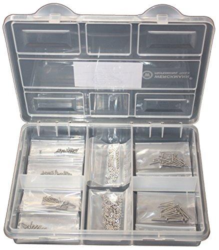 Senkkopfschrauben-Sortiment Kreuz DIN 965 M1,6 1,6x3 1,6x5 1,6x8 1,6x10 1,6x12 1,6x16 mix Edelstahl 400 Teile inkl. Sechskantmuttern, Unterlegscheiben Edelstahl Modellbauschrauben