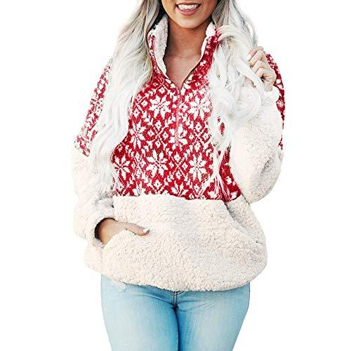 TEBAISE Christmas Plüschjacke Pullover Bluse Tops Damen Weihnachten Blumen Drucken Langarm Sweatshirt Cute Hemd Mantel Weihnachtspullover Rentier Fashion Pulli warme Elegante T-Shirt