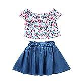 LEXUPE Kleinkind Baby Kinder Mädchen Schulterfrei Rüschen Floral Tops Solide Rock Outfits Set(Hellblau,80)