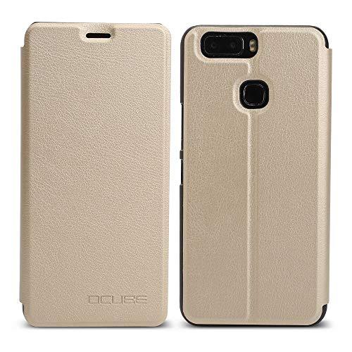 Ycloud Tasche für Leagoo S8 Pro Hülle, 360-Grad-Schutz case Artificial Leather Schale Flip Cover Hülle Hartplastik Innenschale mit Funktionshalterung Schutzhülle (Gold)
