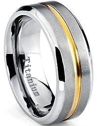Ultimate Metals Co. Bague de Mariage Plaqué Or Titane Pour Homme, Intérieur Confort 8mm