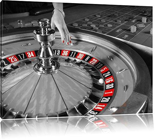 großer Roulette Tisch schwarz/weiß Format: 120x80 auf Leinwand, XXL riesige Bilder fertig gerahmt mit Keilrahmen, Kunstdruck auf Wandbild mit Rahmen, günstiger als Gemälde oder Ölbild, kein Poster oder Plakat