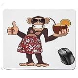 HFYSB Gaming Tapis De Souris,Happy Chimpanzee Holding a Cocktail and Smiling Piggle Ape Cheerful Comic Art Tapis De Souris 8.6 X 7.1 in