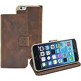 iPhone 6 / 6s (4.7 Zoll) Original Suncase® Book-Style (Slim-Fit) Ledertasche Leder Etui Tasche Handytasche Schutzhülle Case Hülle (mit Standfunktion und Kartenfach) antik coffee-braun
