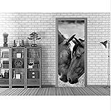 Durch Aufkleber 3D Schwarz Weiß Pferde Durch Kunstwandbild Wandaufkleber Aufkleber Wandaufkleber Selbstklebende Foto Home Decoration Zubehör 77X200 cm