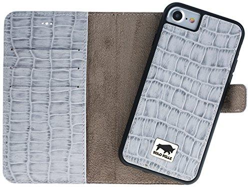 Solo Pelle Iphone 7 / 8 abnehmbare Lederhülle (2in1) inkl. Kartenfächer für das original Iphone 7 / 8 ( Kroko-Rot ohne Öffnung für das Apple Logo ) inkl. Edler Geschenkverpackung Kroko-Perlmutt-Weiss ohne Öffnung für das Apple Logo