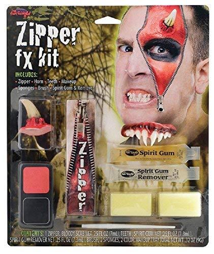 Herren Damen Devil Werwolf Toter Zombie Halloween Spezialeffekte Blutig Reißverschluss Gesichtsfarbe Make-Up Satz - Devil, One Size