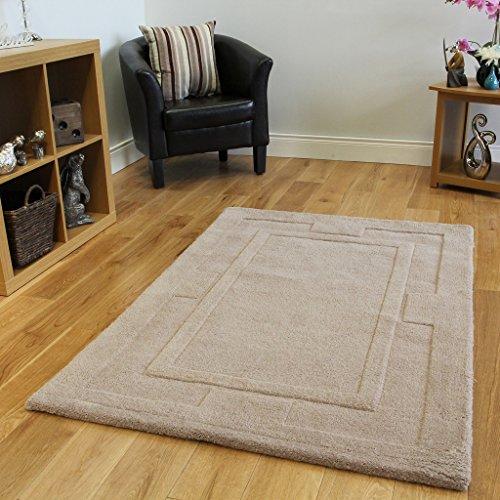 Alfombra moderna en color plano beige natural. No se deshace. 100% lana con diseño tallado. 3 Tamaños disponibles - Elements