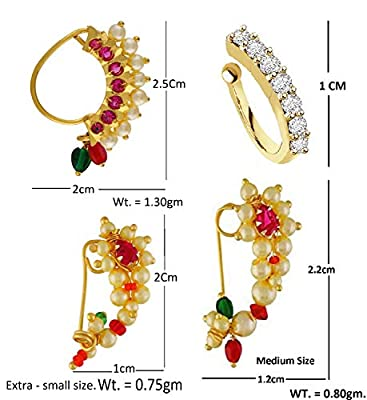 VAMA FASHIONS Gold Plated Maharashtrian Nath Clip on Combo Nose Ring Without Piercing for Women