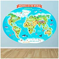azutura Animals Of The World Map Wall Sticker available in 8 Sizes Digital