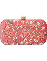 Tooba Handicraft Women's Clutch (Pink, Pink Pearl Flower 7X4)