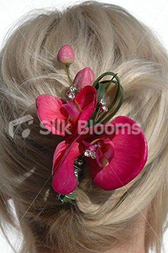 Rosa-fucsia-orqudeas-artificiales-boda-artificial-peine
