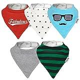 Lovjoy Bandana Baby Halstuch Lätzchen, Dreieckstucher, Für 0-3 Jahre, 5er Pack (Fabulous)
