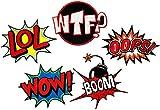 i-Patch Patches - 0101 - Set - Wow - LOL - WTF - Boom - Oops- Stickerei - Applikation - Aufnäher - Sticker - Badge - Flicken - DIY - Emoji - Aufbügler - Bügelbild - Iron-on - Embleme - Retro