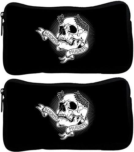 Snoogg Lot de 2 Tête de Mort Design de Muerte Poly Canvas Student Pen Trousse Porte-monnaie Pochette Sac de maquillage B01MXS049D   Caracteristique