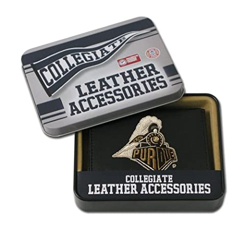 NCAA Purdue Boilermakers Embroidered Genuine Leather Trifold