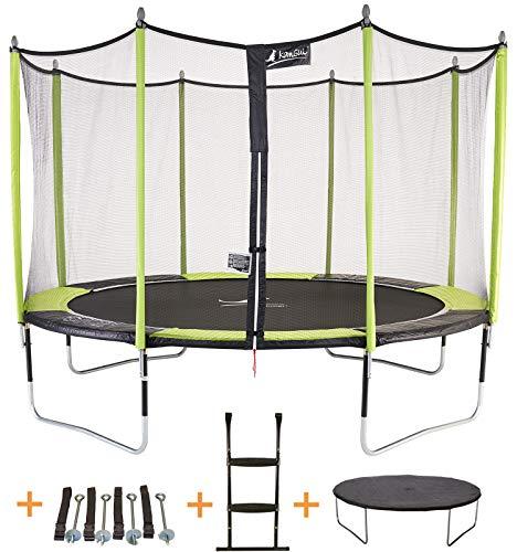 Kangui - Trampoline de Jardin 365 cm + Filet de sécurité + échelle + bâche de Protection + kit d'ancrage JUMPI Pop 360