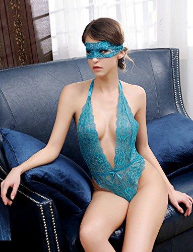 Yuson Girl® Unterwäsche Damen Lingerie Bei Nacht für Frauen Babydoll Spitze Nachtwäsche Dessous Sets Damen Dessous Sexy Blau