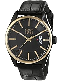 Cerruti 1881 señores-reloj analógico de cuarzo cuero PALINURO CRA127SBG02BK