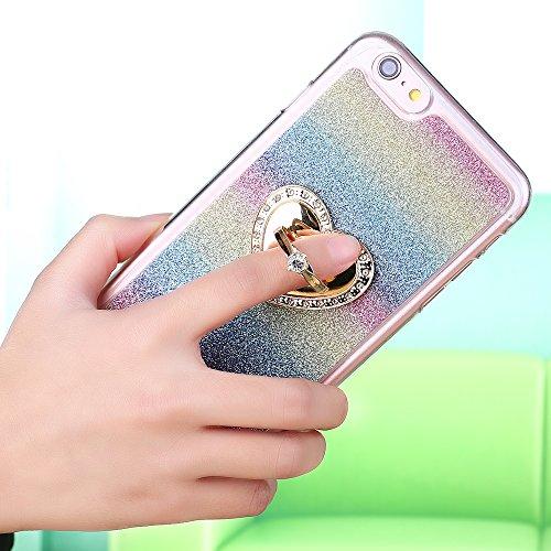 """iPhone 6s Handyhülle, Bling Glitzer Funkeln CLTPY iPhone 6 Durchsichtig Dünne Matte Gel Cover Schlanke Hybrid Stoßdämpfende & Kratzfeste Gummi Case mit Kippständer für 4.7"""" Apple iPhone 6/6s + 1 x Sch Regenbogen mit -Ring"""