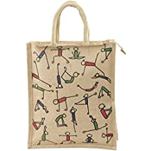 Eco friendly Popular Jute Lunch & Shopping Bag with Yoga Print