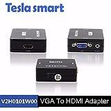 Telsa Black VGA To HDMI Audio Converter 1080P With USB Cable
