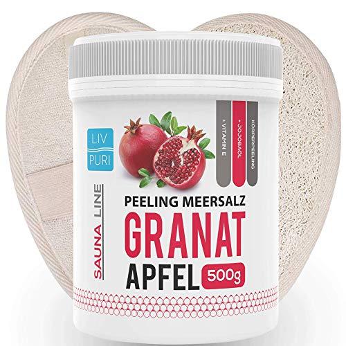 Saunasalz Granatapfel mit Luffa-Pad ideale als Geschenkeset | Körperpeeling Natur Luffa Schwamm für Bad und Dusche -